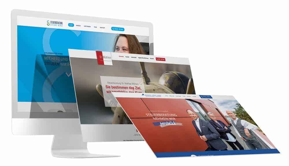 Desktop-Bildschirm zeigt mehrere Webdesign Referenzen für Anwälte, Kanzleien und Sozietäten